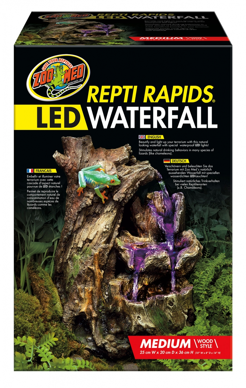 Repti Repids LED Waterfall medium Wood Style